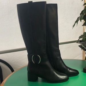 Corso Como Black Leather Heeled Tall Boots s 7.5
